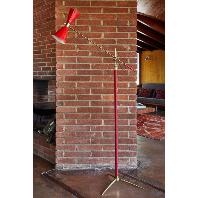 1950s Vintage French Red Articulating Floor Lamp For Sale - Image 4 of 10