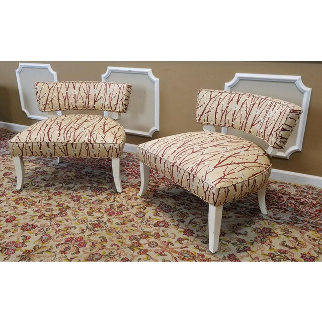 1950s Vintage Mid-Century Modern James Mont Upholstered Slipper Chairs - a Pair - Image 4 of 10