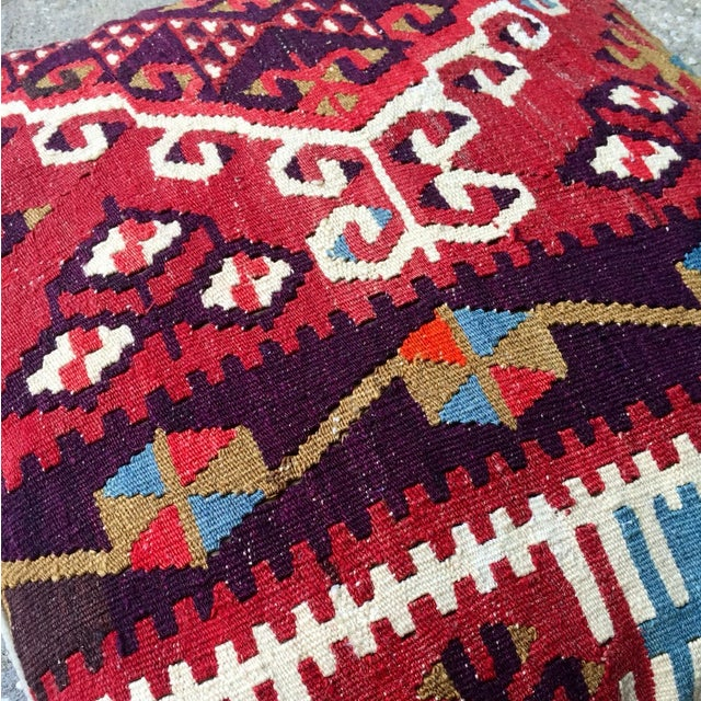 Vintage Red Geometric Turkish Kilim Pillow - Image 4 of 4