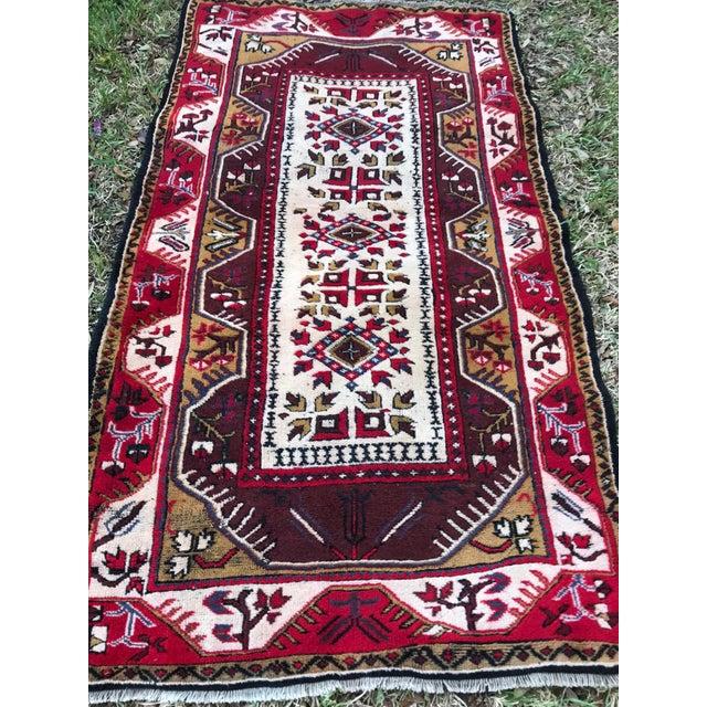 Islamic Anatolian Geometric Milas Red Rug For Sale - Image 3 of 5