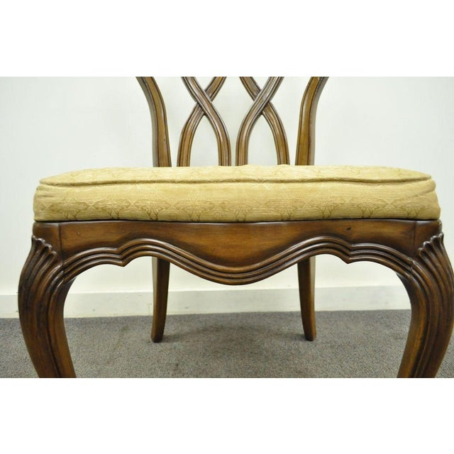 Vintage Hollywood Regency Solid Wood Loop Back Side Occasional Desk Dining Chair For Sale - Image 10 of 11