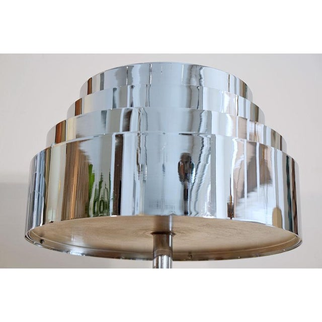 Ceramic Pair Mid Century Chrome Torchere For Sale - Image 7 of 9