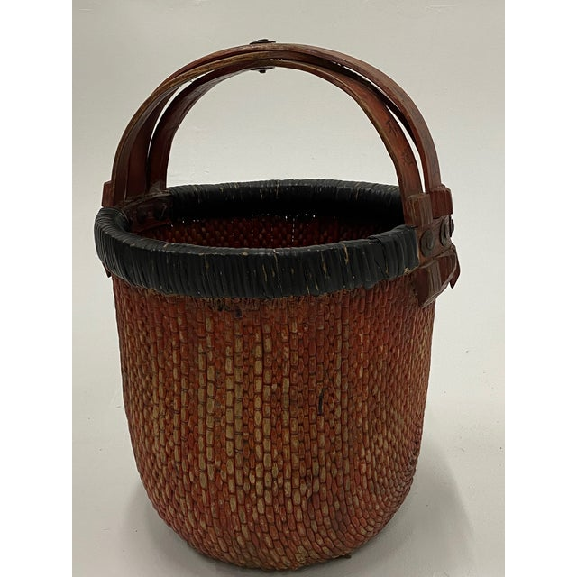Chinese Woven Rattan Market Basket For Sale - Image 10 of 13