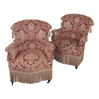 19th Century French Pair of Napoleon III Armchairs With Fringe and Tassels For Sale