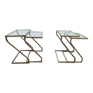 1970s Mid-Century Modern Design Institute America Brass & Glass Nesting Z Tables - Set of 4 For Sale