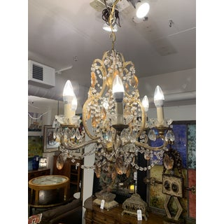 Early-20th Century 6-Light Gold Finish + Glass Chandelier Preview