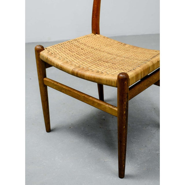 Mid-Century Oakwood and Woven Cane Side Chair W2 by Hans J. Wegner for c.m. Madsen, 1953 For Sale - Image 9 of 11