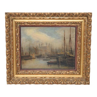 Fine 19th Century Nautical View of the Thames, London Oil Painting