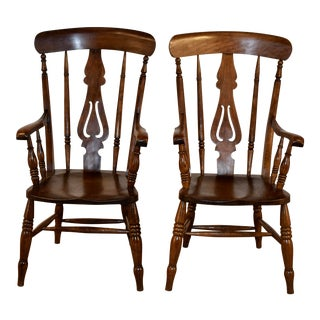 19th C Pair of Lancashire Ladder Back Armchairs For Sale