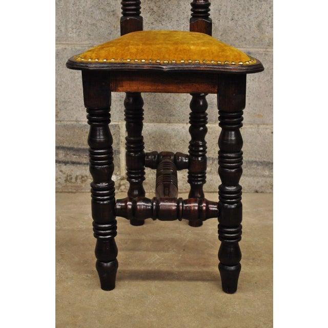 Vintage Spanish Jacobean Renaissance Revival Gothic Gold Hall Prayer Chair For Sale In Philadelphia - Image 6 of 11
