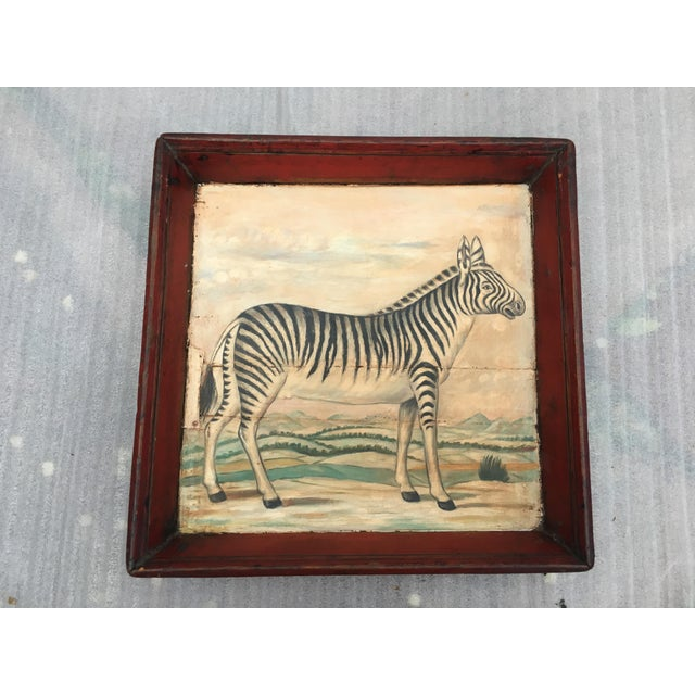 Fabulous antique rustic wooden tray with hand painted zebra scene, done in oil paints at center. This would also look...