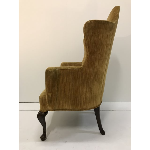 Gold Early 20th Century Queen Anne Tall Barrel Back Wingback Parlor Fire Side Chair Mahogany Cabriole Leg For Sale - Image 8 of 13