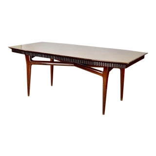 Mid-Century Italian Dining Table With Green Glass Top and Fluted Edge For Sale