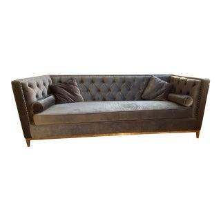 Modern Charcoal Grey Velvet Chesterfield Sofa For Sale