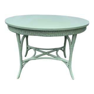 Vintage Farmhouse Green Wicker Oval Console Table For Sale