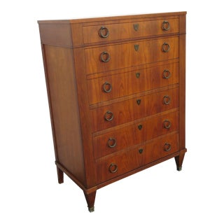 Mid Century Modern Walnut Chest of Drawers by Baker For Sale