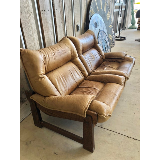 1970's Swedish Leather Loveseat For Sale - Image 6 of 10