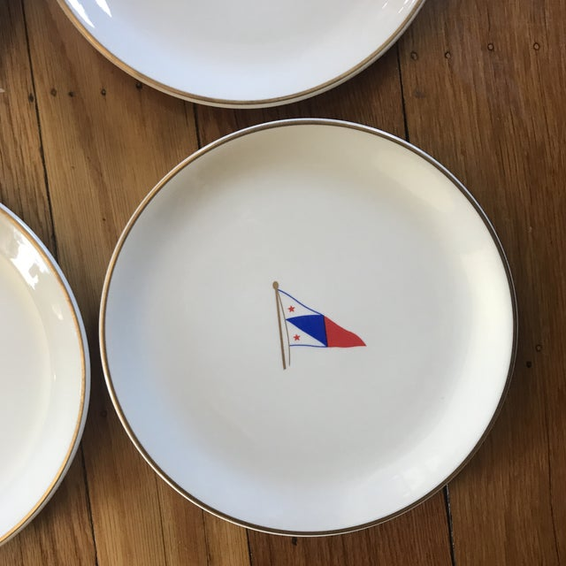 White Vintage Syracuse China Yacht Club Plates - Set of 6 For Sale - Image 8 of 13