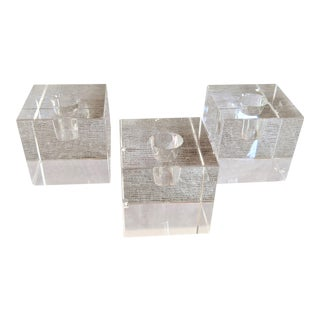 1980s Crystal Cube Candle Holders - Set of 3 For Sale