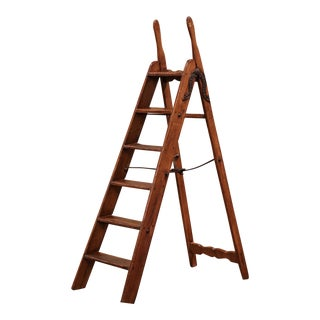 19th Century English Victorian Carved Pine and Iron Folding Library Step Ladder For Sale