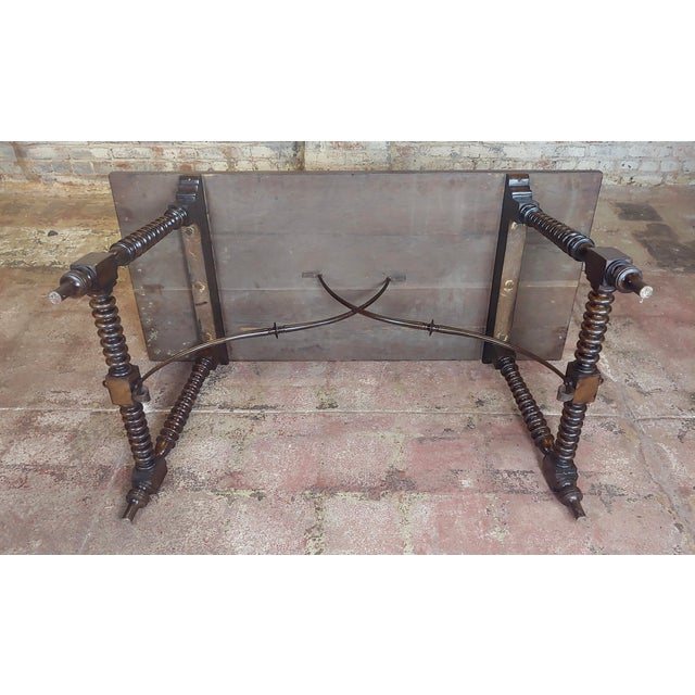 20th Century Spanish Revival Walnut Table With Iron Stretcher Bars For Sale - Image 11 of 12