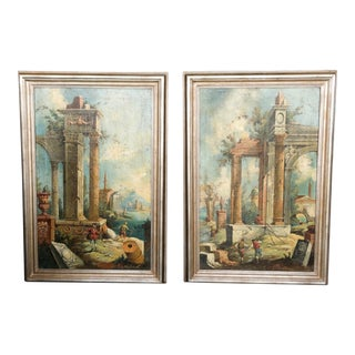 Early 20th Century Grand Tour Style Italian Roman Ruins Oil Paintings by Silvano Chellini, Framed - a Pair For Sale