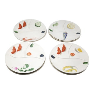 Set of 12 Vintage Trompe-L'œil Divided Dinner Seafood Plates For Sale