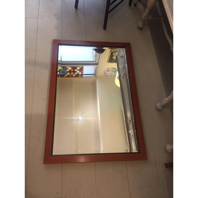 Custom made mahogany framed beveled wall mirror in a great condition. Already wired and ready to be hang on the wall....
