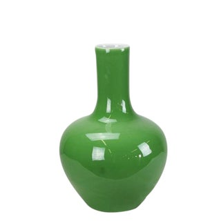 Asian Modern Light Green Long Neck Porcelain Vase For Sale