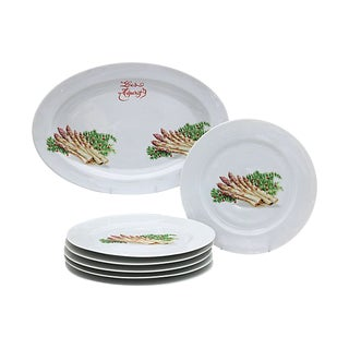 Limoges Christmas / Holiday Asparagus Set, 7Pcs For Sale