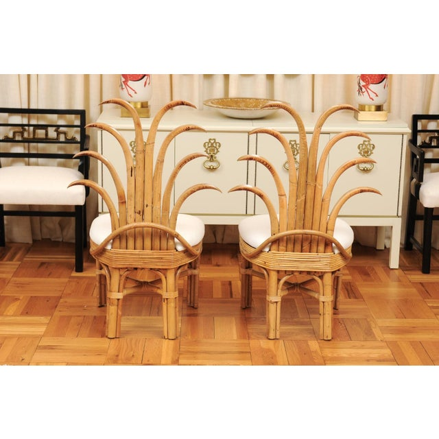 Mid-Century Modern Jaw-Dropping Set of 8 Custom Made Palm Frond Dining Chairs, Circa 1950 For Sale - Image 3 of 13