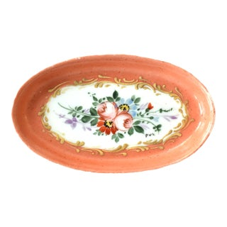 Antique Limoges Hand-Painted Oval Trinket Dish For Sale
