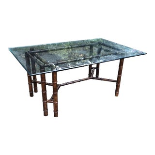 1970s Hollywood Regency Faux Bamboo Table With Glass For Sale
