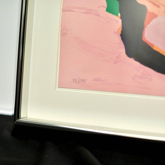 """Karel Appel Karel Appel """"Lying in Color 'Pink Cat'"""" 1979, Signed, Framed in Chrome For Sale - Image 4 of 8"""