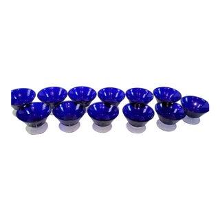 12) Cobalt Blue Crystal Dessert Stems - Set of 12 For Sale