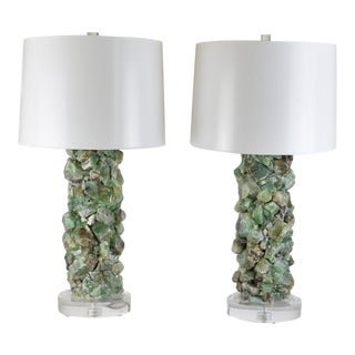 Green Calcite Mineral Lamps - a Pair For Sale