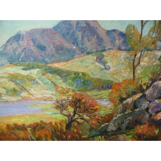 Framed impressionist landscape by listed California artist, Jessie Dewitt. Circa 1937.