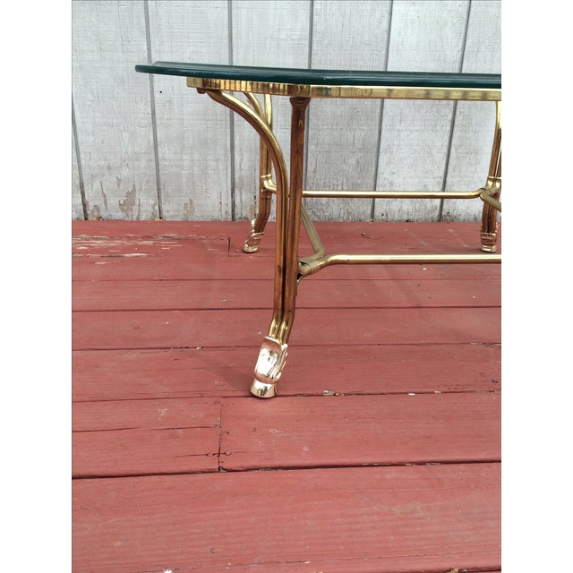 Hollywood Regency Brass Hoof Feet Coffee Table For Sale - Image 5 of 9