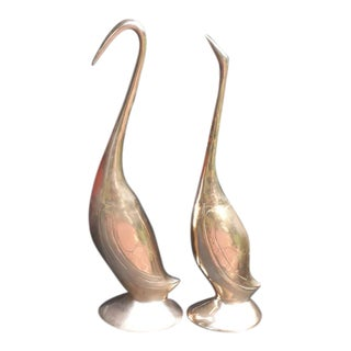 Mid-Century Modern Brass Swans - a Pair For Sale
