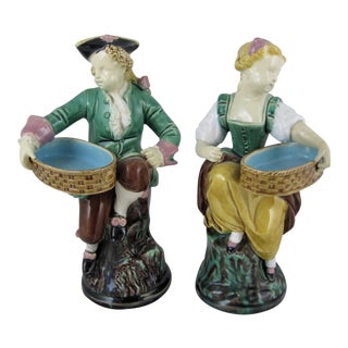 Minton Majolica Carrier-Belleuse's Hogarth Figural Match Holders - a Pair For Sale
