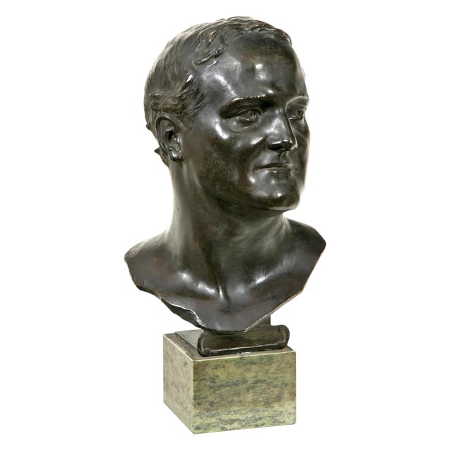 1910s Glasgow School Bronze Bust Sculpture by Francis Derwent Wood For Sale
