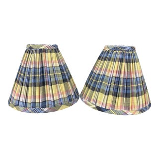 Madras Plaid Shirred Lampshades - a Pair For Sale