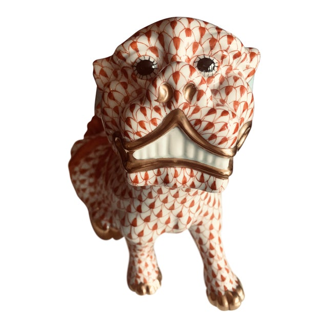 Herend Rust Colored Fishnet Pattern Foo Dog Figurine For Sale