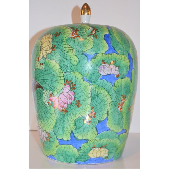 1970s (Price Firm) Chinese Lotus and Swallow Ginger Jar For Sale - Image 5 of 9