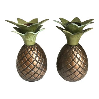1980s Tommy Bahama Brass Verdigris Pineapple Candlestick Holders - a Pair For Sale