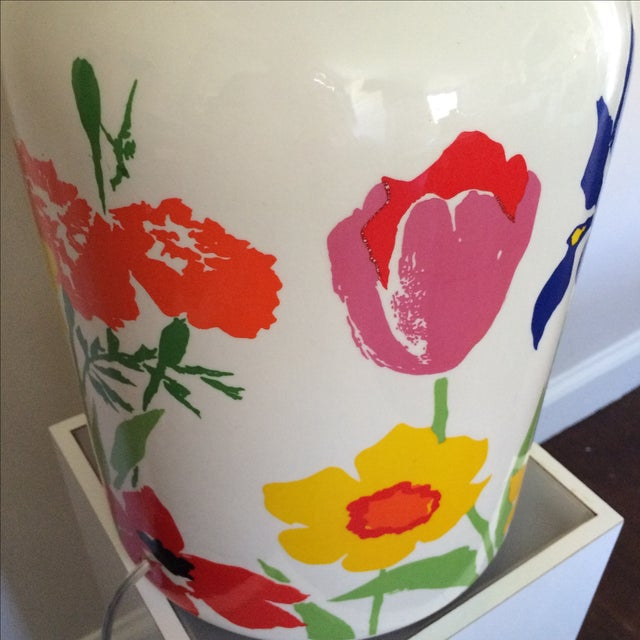 Mid-Century Floral Lamp With Red Custom Shade - Image 9 of 9