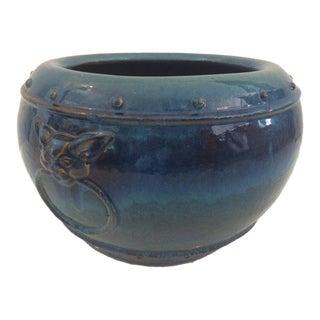 1990s Vintage Ombré Blue Glazed Planter For Sale