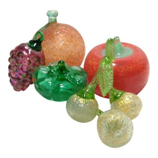 Italian Hand Blown Art Glass Figurines - Set of 5 Fruits & Vegetables For Sale
