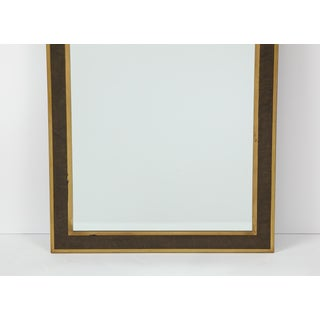 Italian Mid-Century Brass and Burl Wood Framed Mirror Preview