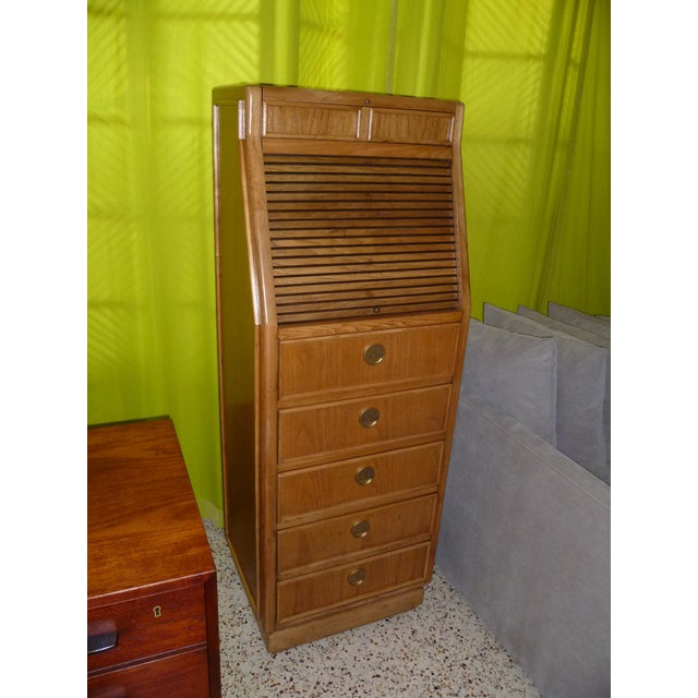 Campaign Style Modern Tall Slender Dresser Valet by American of Martinsville 1960s For Sale In Miami - Image 6 of 10